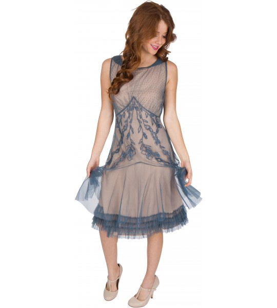 Tatianna AL-428 Vintage Style Party Dress in Sapphire by Nataya