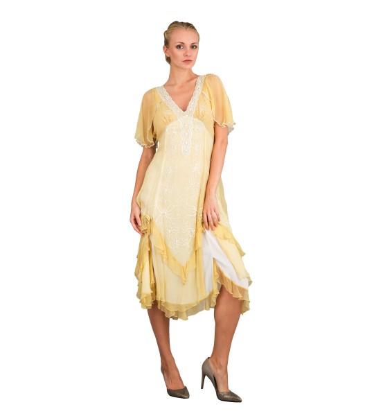 Romantic 40241 Vintage Style Party Dress in Lemon by Nataya