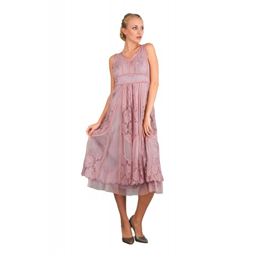 Romantic Vintage Style Sleeveless Dress in Violet by Nataya