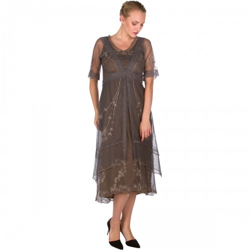 Vintage Inspired Embroidered Party Dress in Moss by Nataya