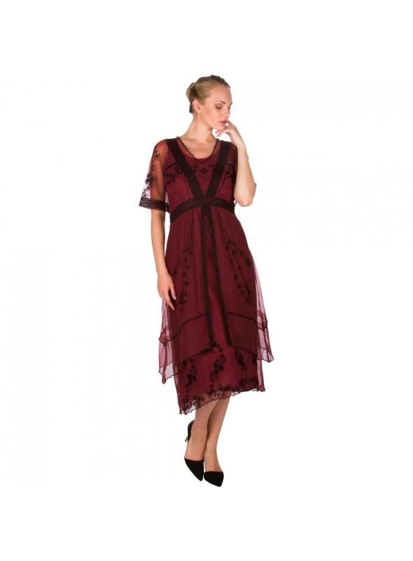 5611 Vintage Inspired Embroidered Party Dress in Wine by Nataya