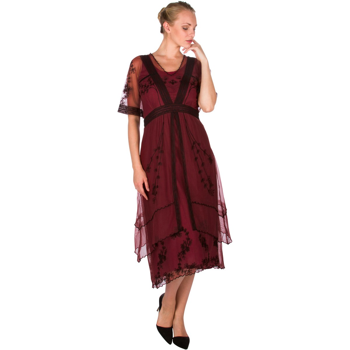 Vintage Inspired Embroidered Party Dress in Wine by Nataya