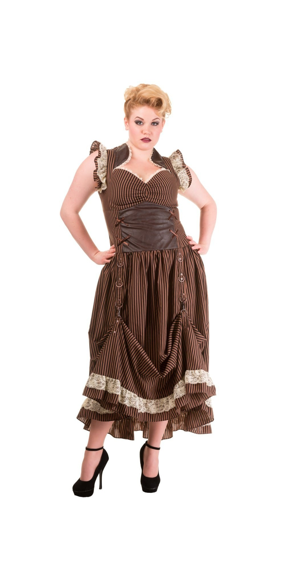 Victorian Steampunk Dress in Stripe