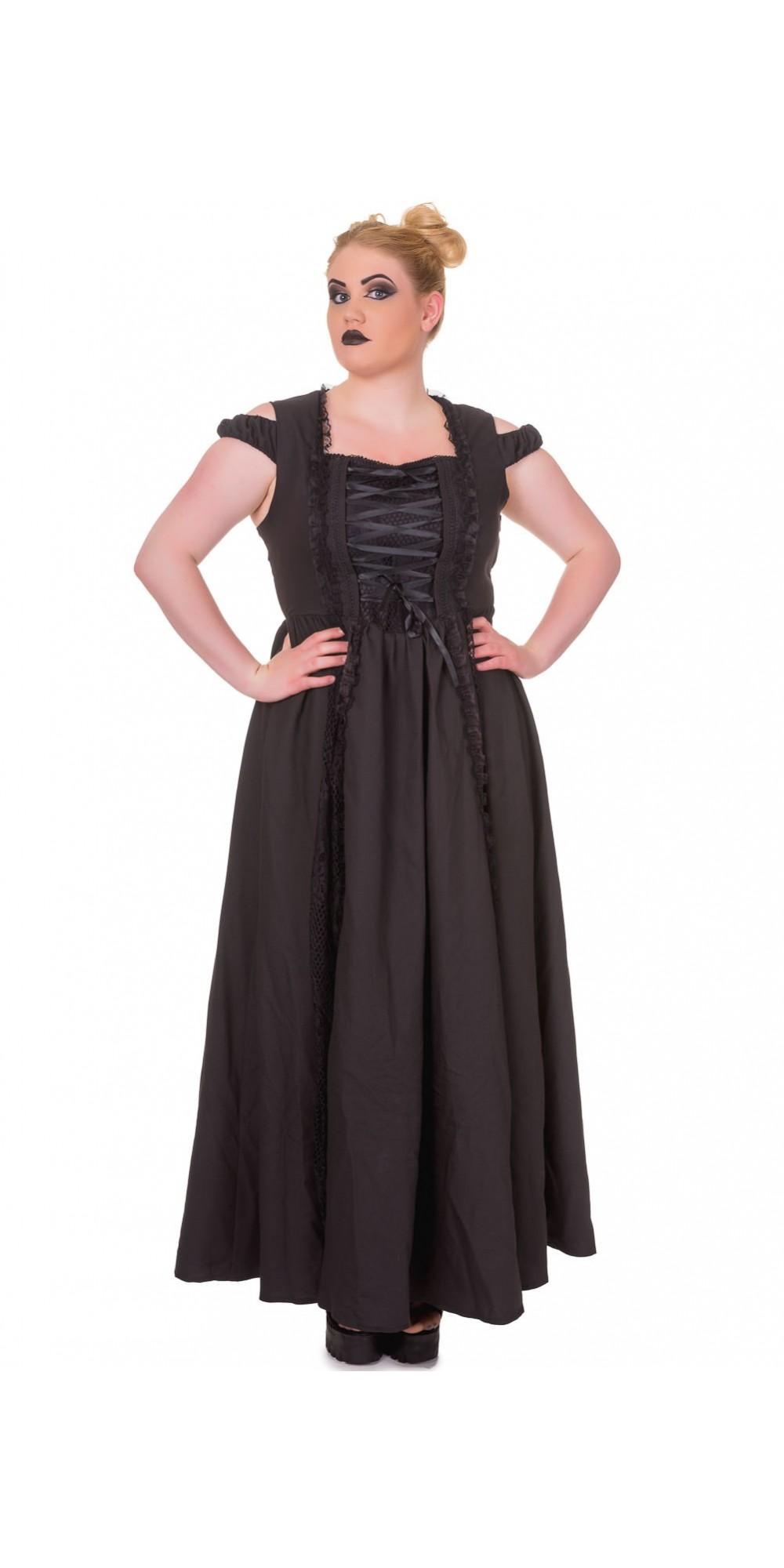 Victorian Corset Style Sleeveless Black Maxi Dress