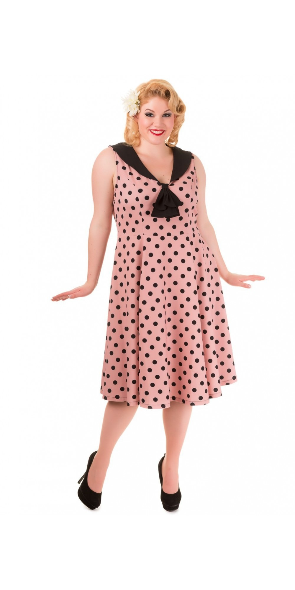 Pin Up Vintage Style Polka Dot Short Sleeve Party Dress