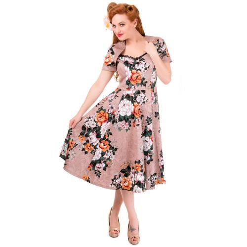 Vintage Style Floral Print Short Sleeve Party Dress
