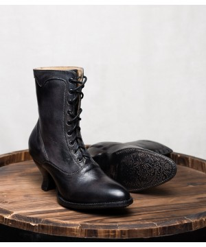 Victorian Style Leather Ankle Boots in Black Rustic by Oak Tree Farms