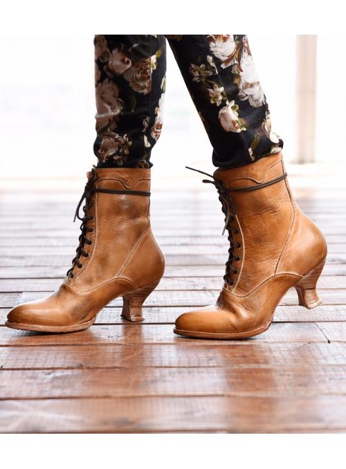 Victorian Style Leather Ankle Boots in Tan Rustic by Oak Tree Farms
