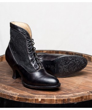 Vintage Style Victorian Lace Up Leather Boots in Black Rustic by Oak Tree Farms