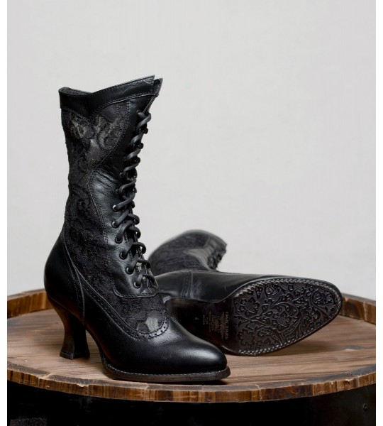 Victorian Inspired Leather & Lace Boots in Black by Oak Tree Farms