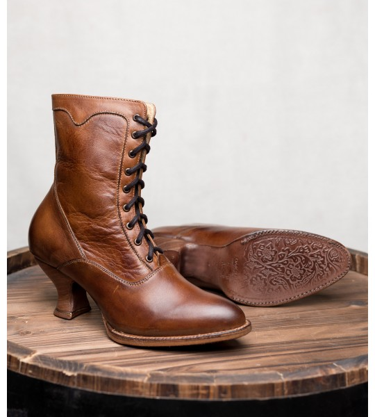 Victorian Inspired Leather Ankle Boots in Tan Rustic by Oak Tree Farms