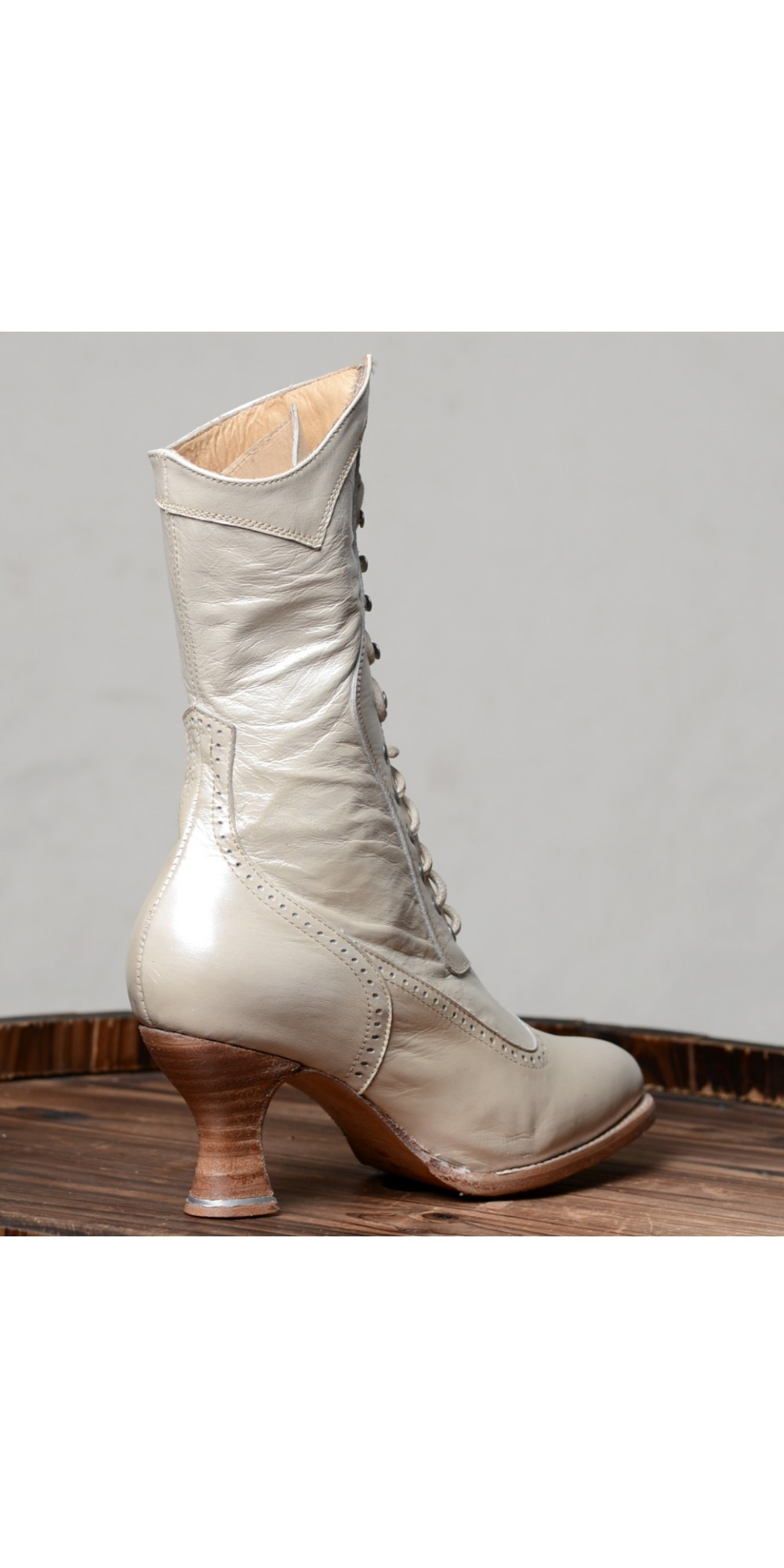 Modern Victorian Lace Up Leather Boots in Pearl Oak Tree Farms