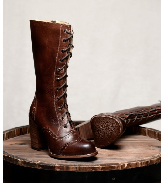 Victorian Inspired Mid-Calf Leather Boots in Teak Rustic by Oak Tree Farms