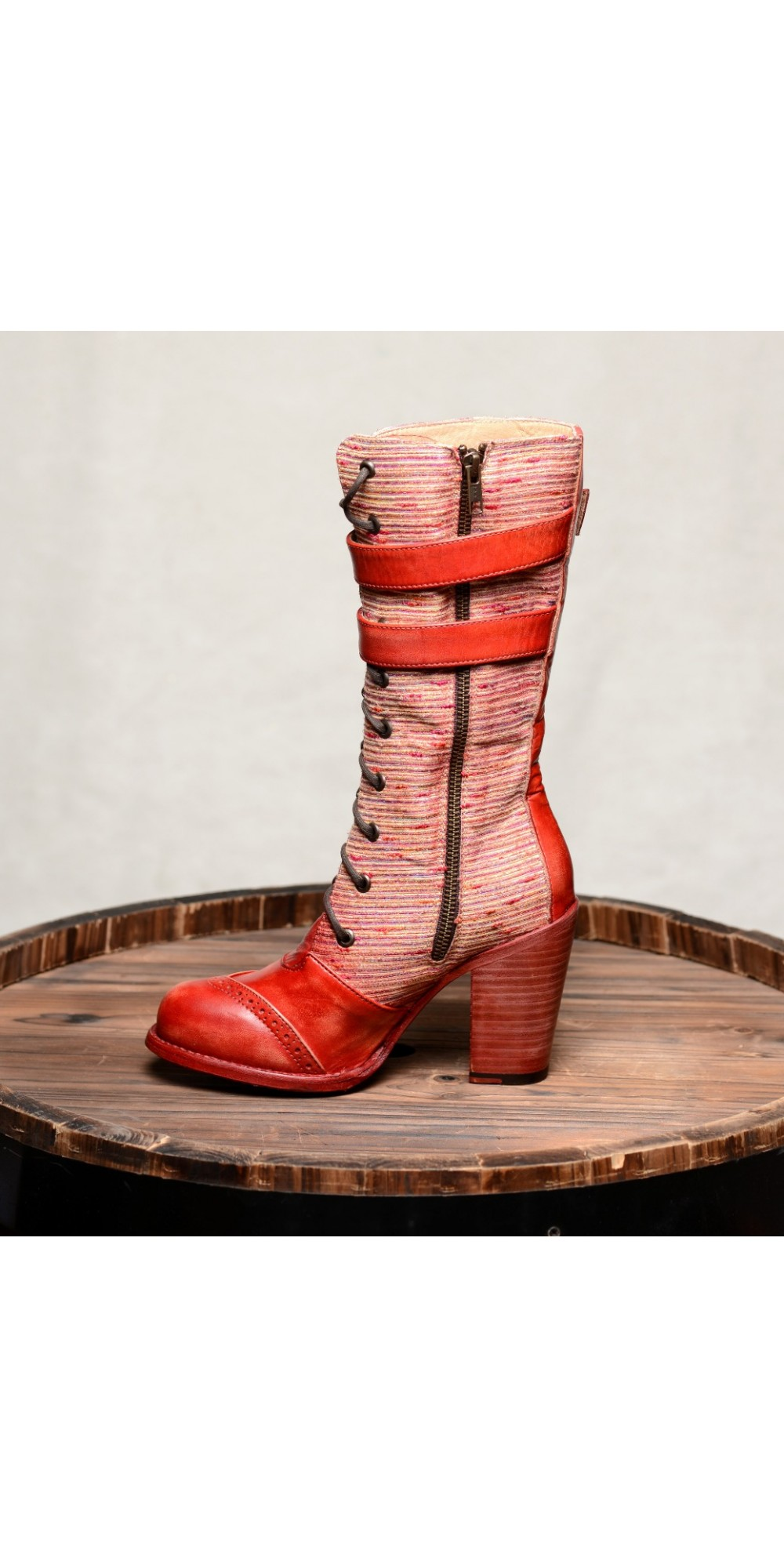 Arabella Steampunk Style Mid Calf Leather Red Boots By Oak