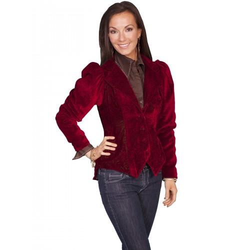 Western Style Embossed Velvet Coat in Red