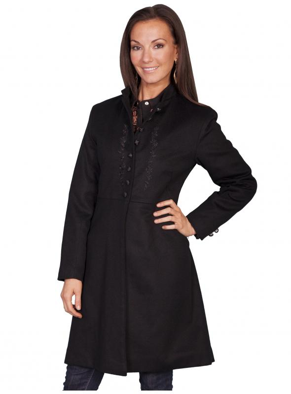 Old Western Wool Heritage Coat in Black by Scully Leather