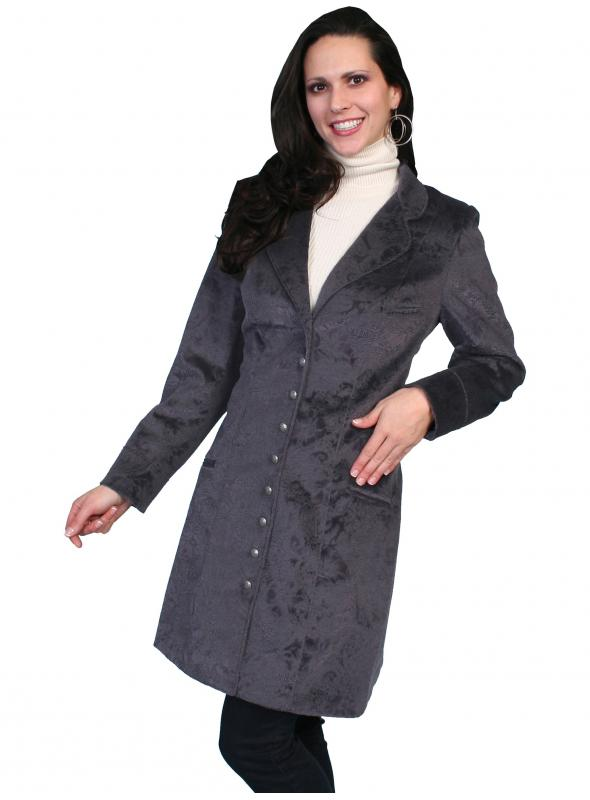 Western Style Velvet Embossed Frock Coat in Plum by Scully Leather