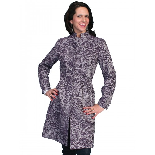 Western Style Tapestry Coat in Plum