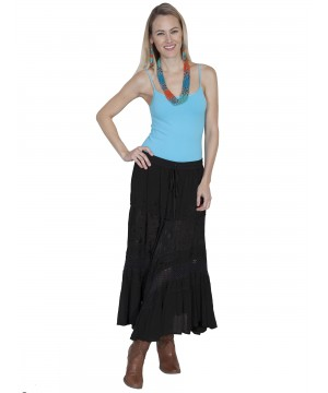 Western Style Full Length Embroidered Skirt in Black by Scully Leather