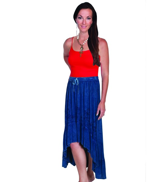 Western Style High-Low Embroidered Skirt in Denim by Scully Leather
