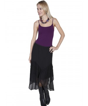 Western Style Flared Skirt in Black by Scully Leather