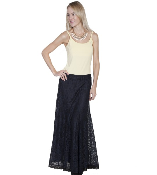 Western Style Long Skirt in Black by Scully Leather