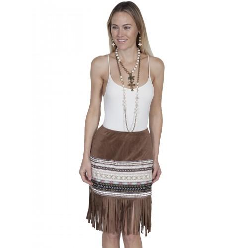 Western Style Short Fringe Skirt in Tan