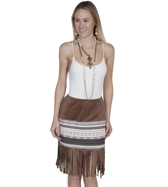 Western Style Short Fringe Skirt in Tan by Scully Leather