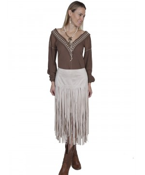 Western Style Long Fringe Skirt in Ivory by Scully Leather