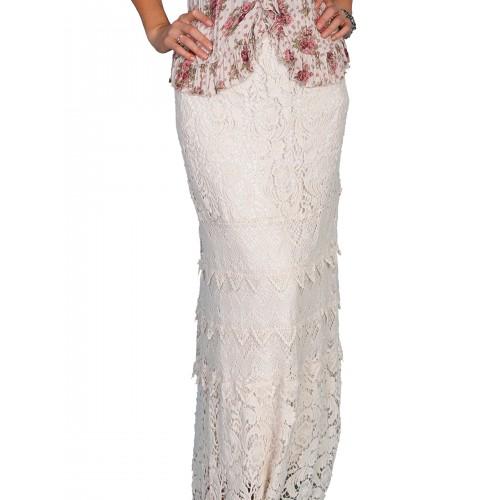 Western Style Long Crochet Skirt in Natural