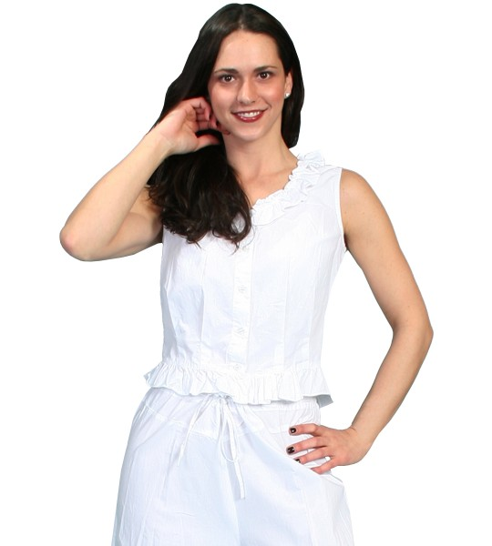 Western Style Ruffled Camisole in White by Scully Leather