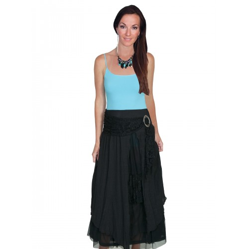 Western Style Multi-Layered Skirt in Black