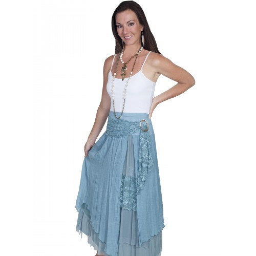 Western Style Multi-Layered Skirt in Blue