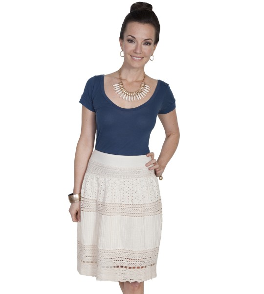 Western Style Mult-Panel Short Skirt in Ivory in Ivory by Scully Leather
