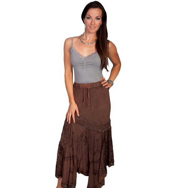 Western Style Multi-Fabric Skirt in Copper by Scully Leather