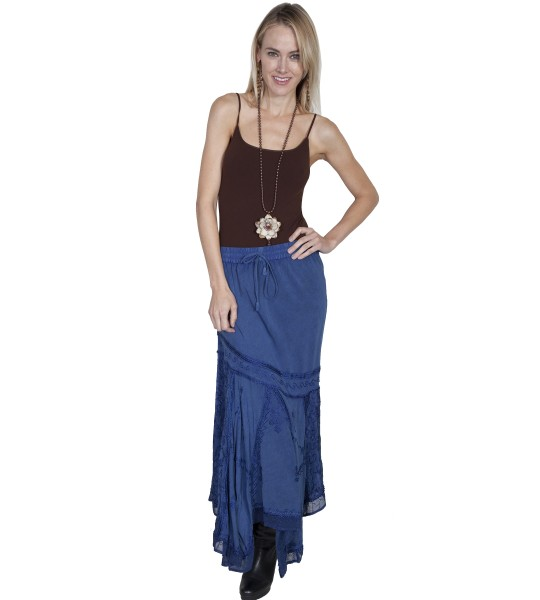 Western Style Multi-Fabric Skirt in Blue by Scully Leather