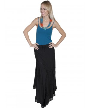 Western Style Multi-Fabric Skirt in Black by Scully Leather