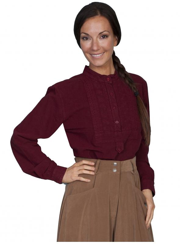 Victorian Style Blouse in Burgundy