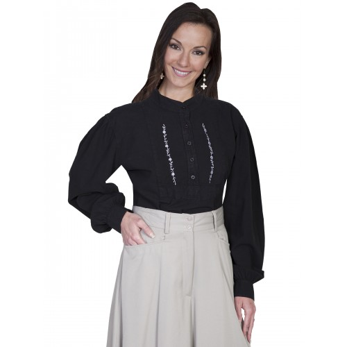 Victorian Style Embroidered Shirt in Black