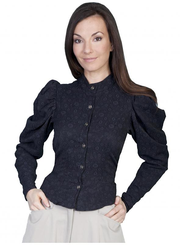 Wahmaker Victorian Floral Print Black Blouse by Scully Leather