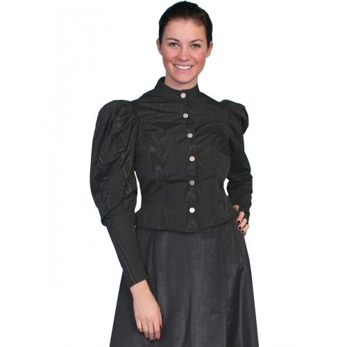 Victorian Style Puff Sleeves Blouse in Black