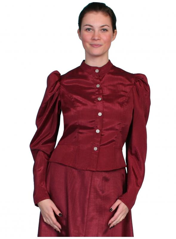 Wahmaker Victorian Style Puff Sleeves Blouse in Burgundy by Scully Leather