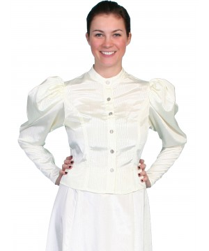 Wahmaker Victorian Style Puff Sleeves Blouse in Natural by Scully Leather