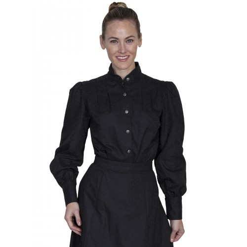 Victorian Style Band Collar Black Blouse