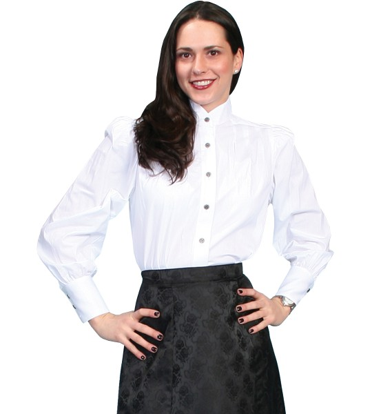 Wahmaker Classic Victorian Style Blouse in White by Scully Leather