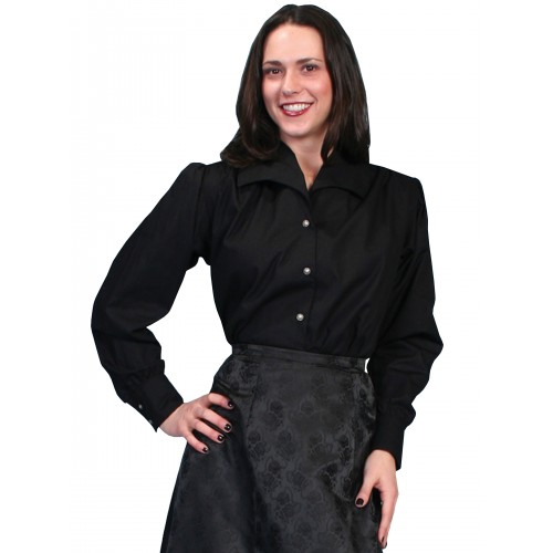Victorian Style Wide Lapel Blouse in Black