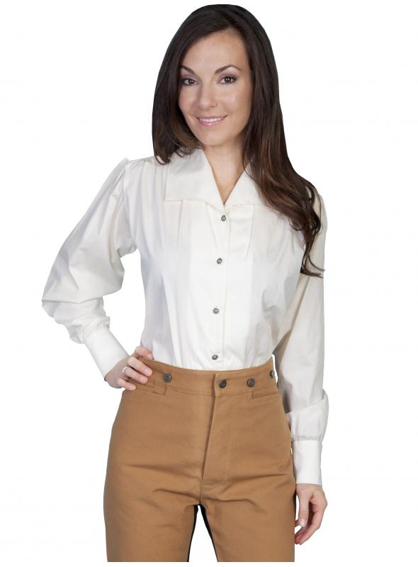 Wahmaker Victorian Style Wide Lapel Blouse in Ivory by Scully Leather