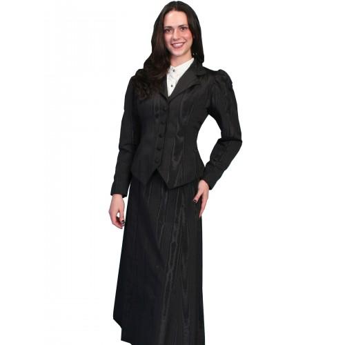 Victorian Style Five Gore Walking Skirt in Black