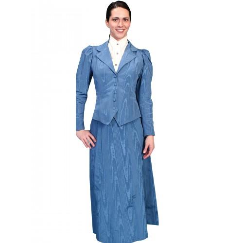 Victorian Style Five Gore Walking Skirt in Blue