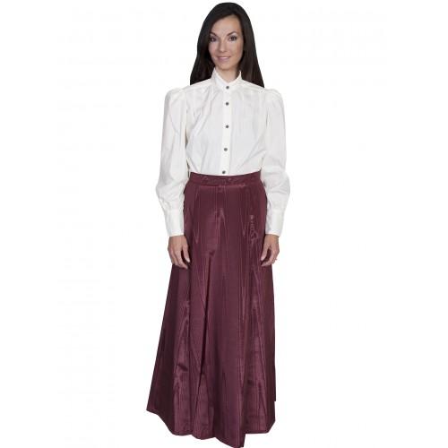 Victorian Style Five Gore Walking Skirt in Burgundy
